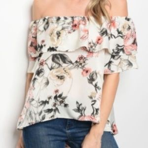 Tops - NWT Off Shoulder Spring Floral Ruffle Blouse